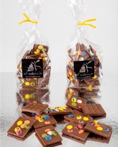 mini tabletas de chocolate con leche