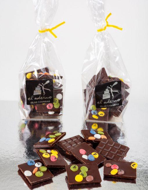 mini tabletas de chocolate negro
