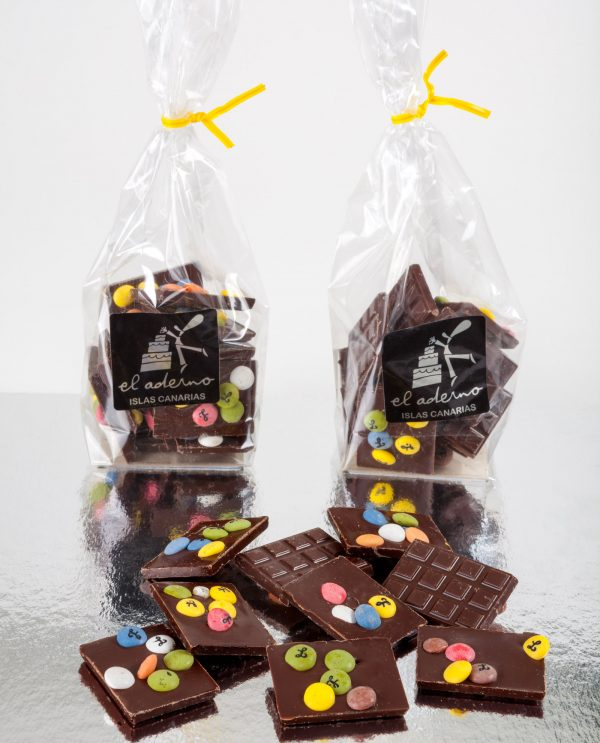 mini tabletas de chocolate negro
