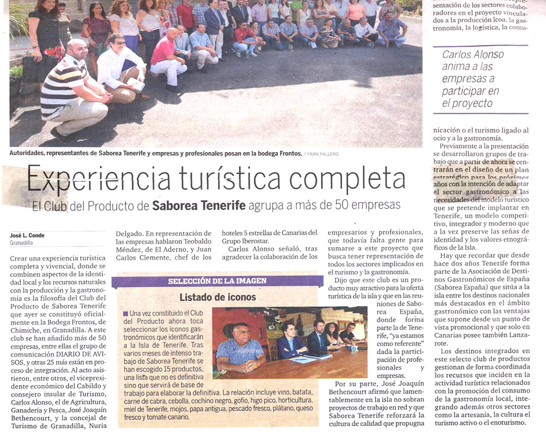 "Proyecto ""Saborea Tenerife"" en Diario de Avisos"