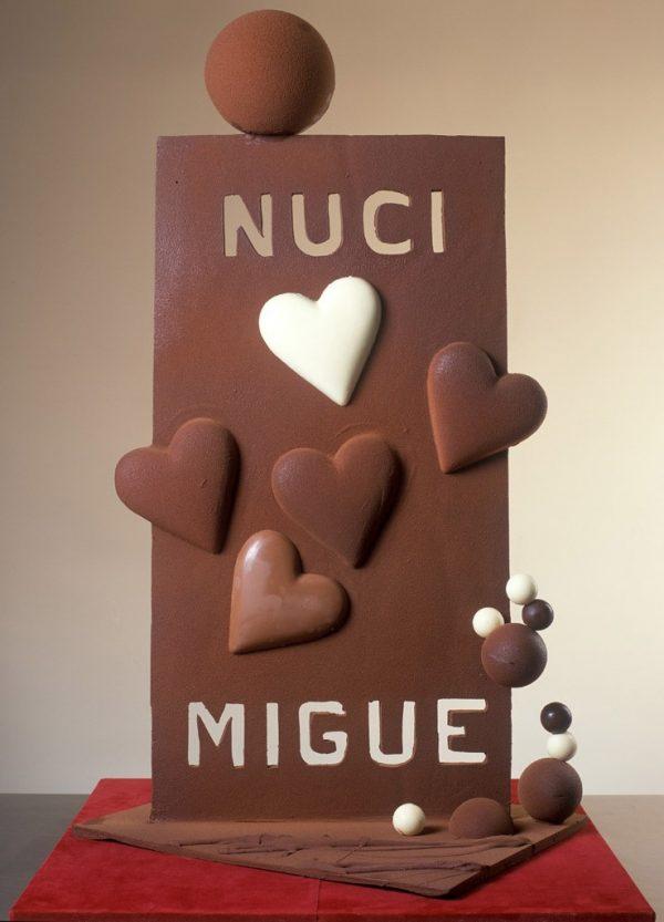 placa de chocolate para boda