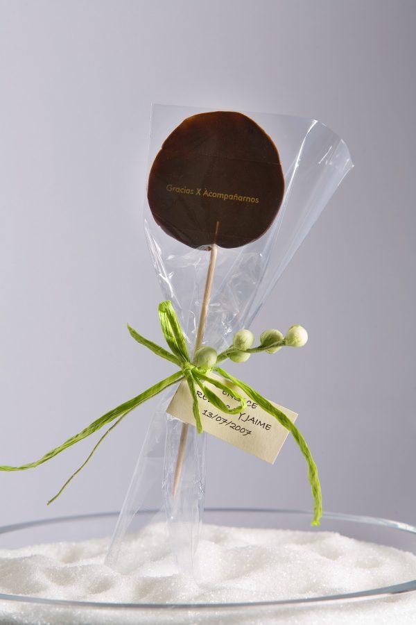 piruleta de chocolate gracias por acompañarnos