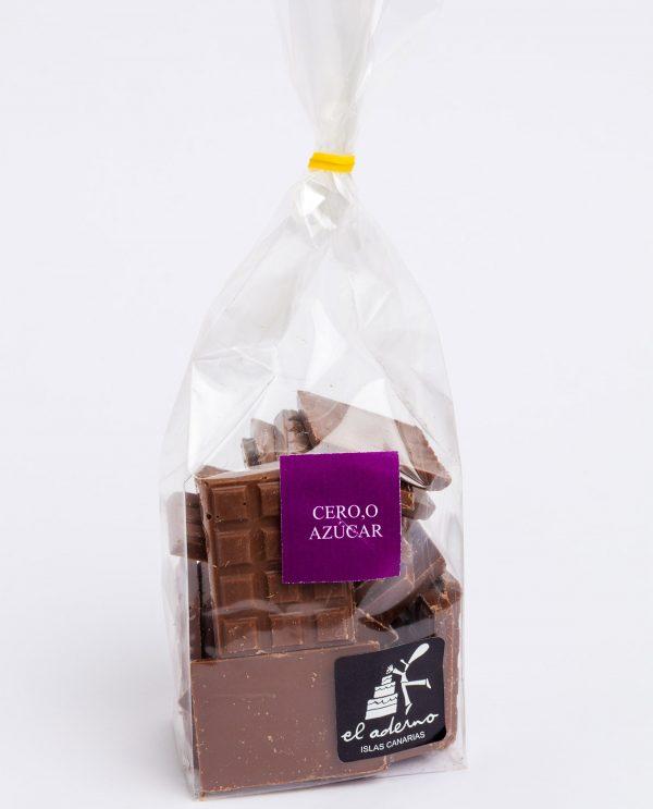 bolsa de mini tabletas de chocolate con leche sin azúcar