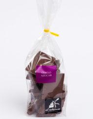 bolsa de mini tabletas de chocolate negro sin azúcar
