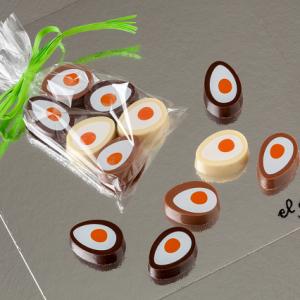 Bolsa de huevos fritos mini de chocolate negro, con leche y blanco