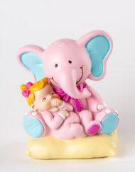 figura bautizo elefante rosado
