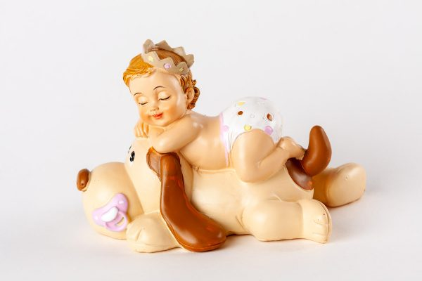 figura bautizo perro chupete rosado